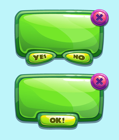 x games: Green cartoon panels for game UI, including yesno and Ok buttons