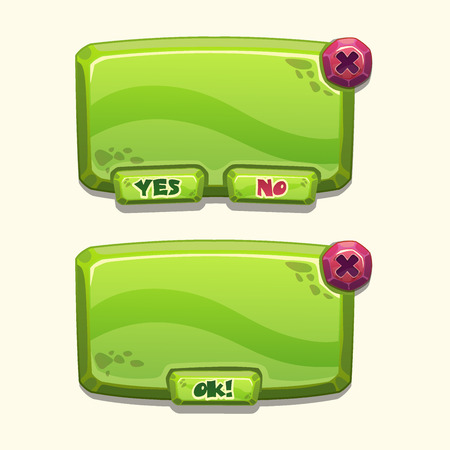 cartoon window: Green stone cartoon panels for game UI, including yesno and Ok buttons Illustration