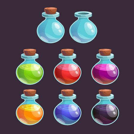 bung: Cartoon bottles with poison in different colors, vector elements