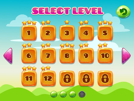 menu buttons: Level selection screen. Game ui set on the funny background Illustration