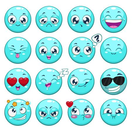 gestos de la cara: Conjunto de caracteres redondos azul de dibujos animados con diferentes emociones, aislado vector Vectores