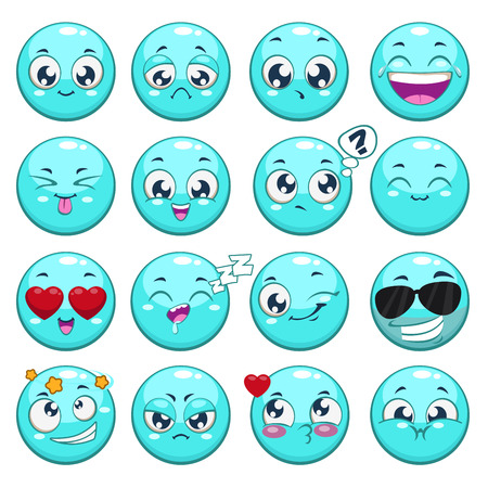 expressions: Set of blue cartoon round characters with different emotions, isolated vector Illustration