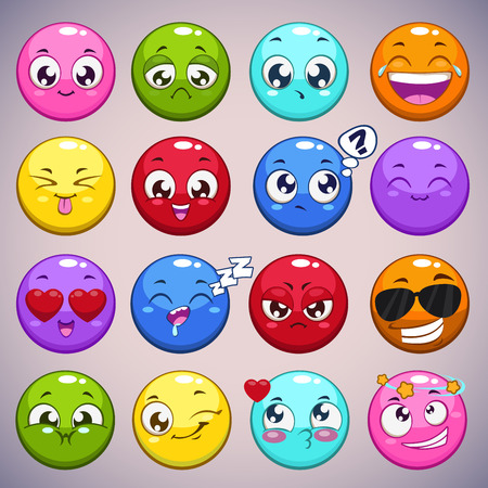 green cute: Set of colorful cartoon round characters with different emotions, isolated vector emoticons