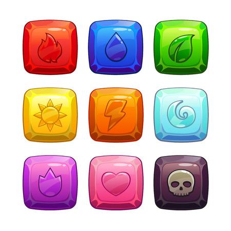 brandweer cartoon: Kleurrijke vierkante edelstenen met de natuur elementen symbool