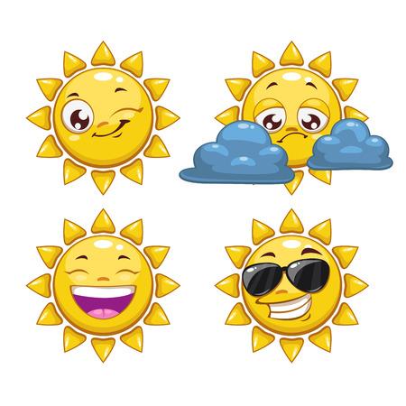 sol caricatura: Sol de la historieta con diferentes emociones, ilustración vectorial