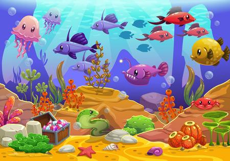 水中の世界、漫画のベクトル図