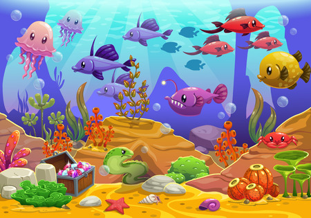 sea  scuba diving: Underwater world, cartoon vector illustration Illustration