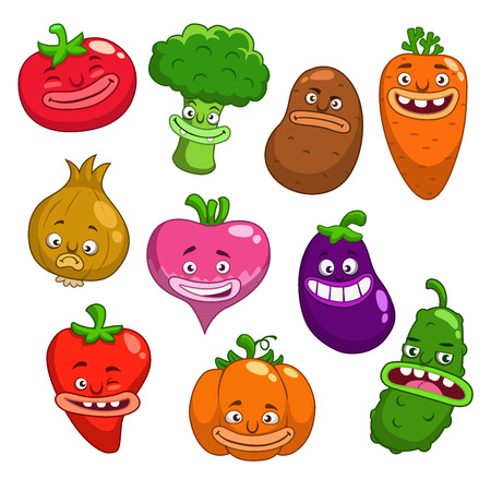 foolish: Cartoon vegetables, funny characters with different emotions