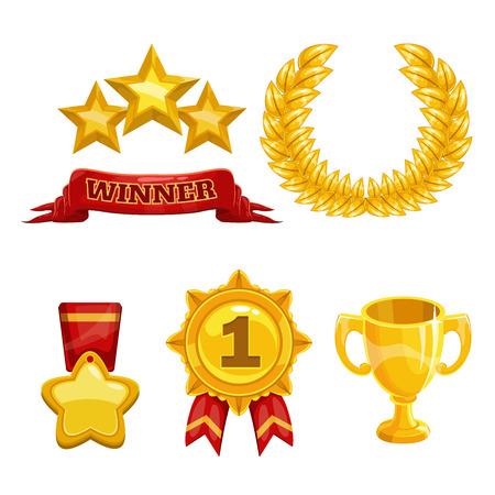 trofeo: Iconos de premio y trofeo establecidos, elementos de oro aislado vector