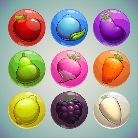 garden stuff: Set of colorful bubbles with fruits and vegetables icons, game assets Illustration