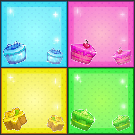 Fancy square cards with cakes vector banners set Vector