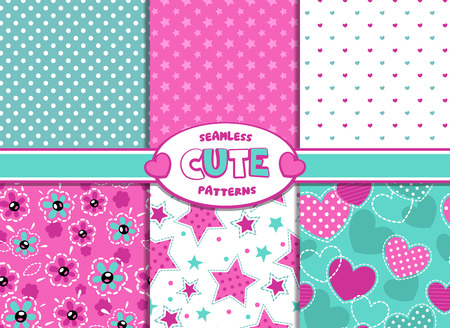 Set of cute girlish vector seamless pattern