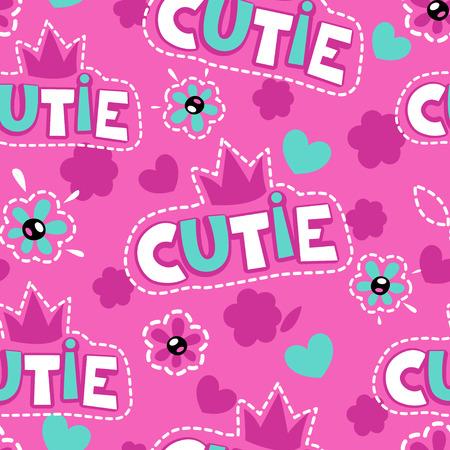 Cute pink girlish pattern seamless vector illustration 向量圖像