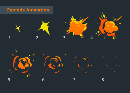 Explode effect animation. Cartoon explosion frames Çizim