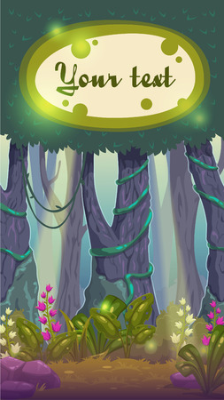 glowworm: Cartoon magic forest illustration fairy wood landscape