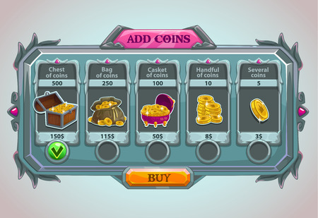 games: Add coins panel, vector epic game asset with coins icons and buttons Illustration