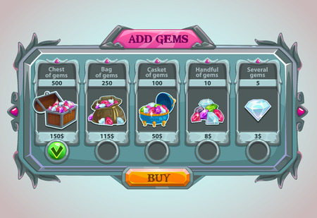 Add gems panel, vector epic game asset with gems icons and buttons Çizim