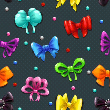 girls with bows: Seamless pattern with cute colorful bows on dark background with polka dots Illustration