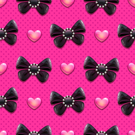 pearl: Seamless pattern with black fancy bows and glossy hearts on the pink background, vector illustration Illustration