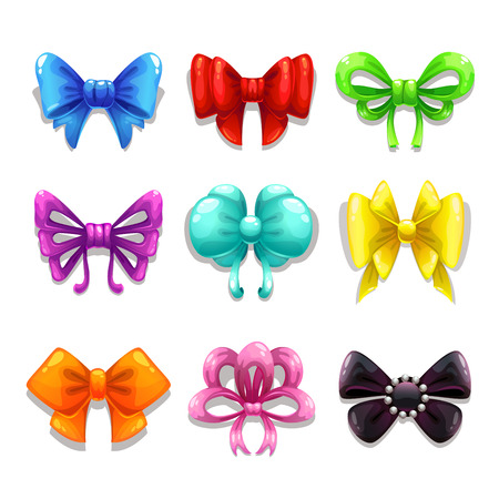 girls with bows: Set of cute colorful bows, isolated vector elements, gradients only Illustration
