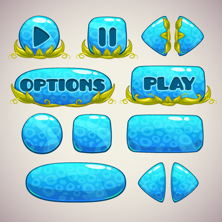 blue buttons: Cartoon blue buttons with nature elements, vector illustration