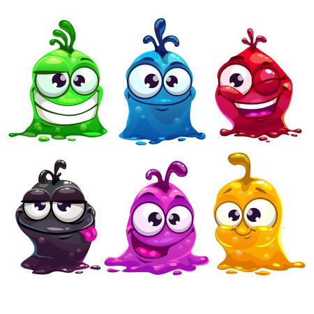 caras graciosas: Personajes de dibujos animados divertidos l�quidos, ilustraci�n vectorial, aislados en blanco