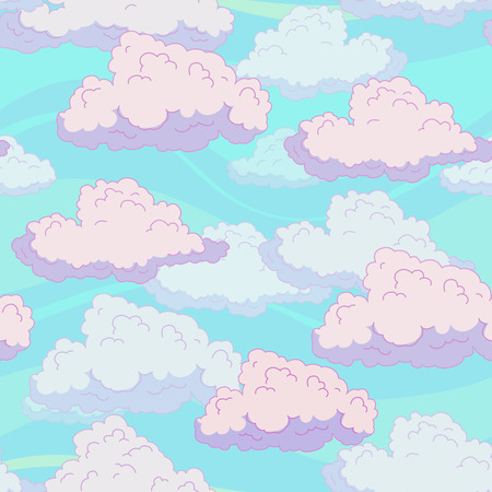 fluffy clouds: Seamless pattern with funny cartoon fluffy clouds, vector illustration