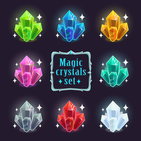 Magic colorful crystals set, vector objects, isolated on dark background