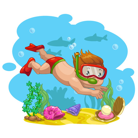 at the bottom of: Little boy finds a shell with a pearl at the bottom of the sea, vector cartoon illustration