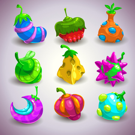 interesting: Set of funny colorful fantasy fruits, vector illustration Illustration