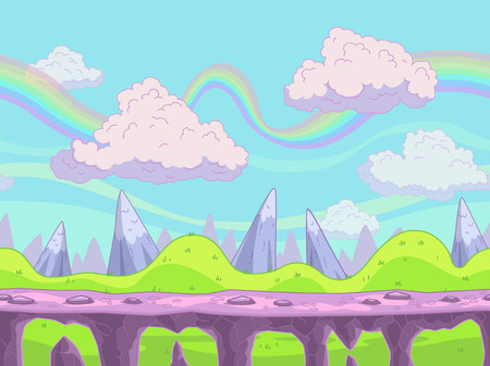 fantasy: Seamless vector cartoon landscape, fantasy unending background with separated layers for game design