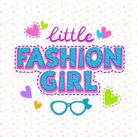 trendy girl: Cute vector illustration for girls t-shirt print, fashion lettering with stitch Illustration