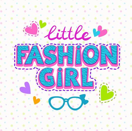 Schattig vector illustratie voor meisjes t-shirt print, mode belettering met steek
