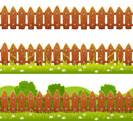 pasture fence: Seamless vector fence illustration isolated on white background