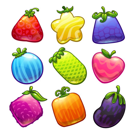fruits vegetables: Set of cute cartoon funny fantastic fruits, vector game assets, isolated on white