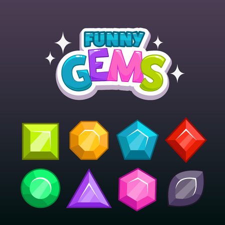 assets: Funny cartoon colorful gems for game design, vector game assets set