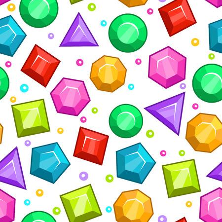 gemstones: Seamless pattern with colorful gemstones on white background Illustration