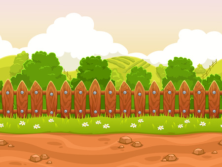 Seamless cartoon country landscape, endless village background, separated layers for parallax effect