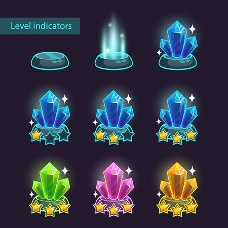 inactive: Crystal level pointers, inactive, active, complete level indicators, vector game ui assets Illustration