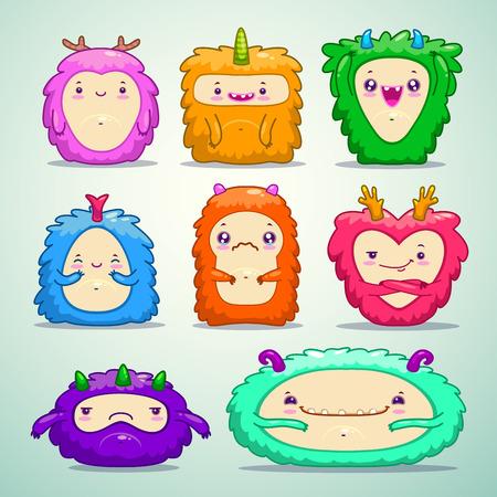 monster face: Little cute fluffy monsters set, vector illustration