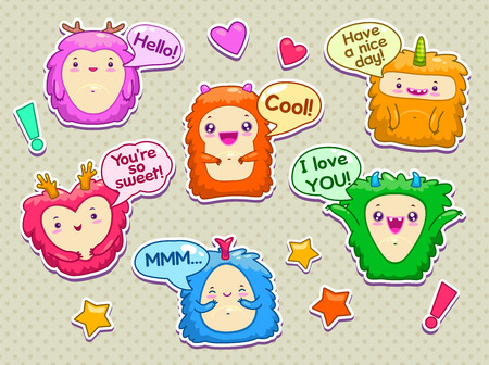 speach: Set of cartoon funny monsters with speach bubbles