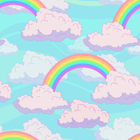 fluffy clouds: Seamless pattern with cute fluffy clouds and rainbow on the sky