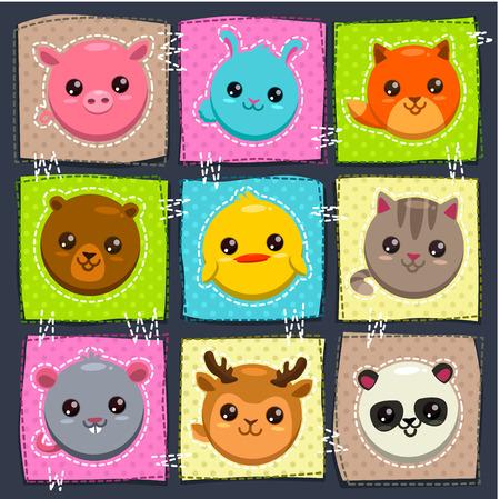 caras felices: Vector ilustración lindo infantil con animales divertidos redondos Vectores