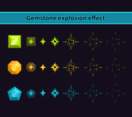 Gemstone explosion effect, stones disappearance animation storyboard Illustration