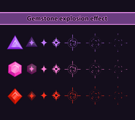 disappearance: Gemstone explosion effect, stones disappearance animation storyboard Illustration