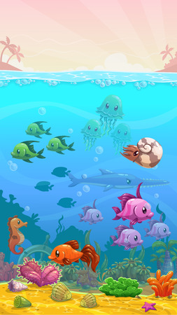 Vector cartoon underwater tropical illustration, vertical wallpaper, mobile phone size Çizim
