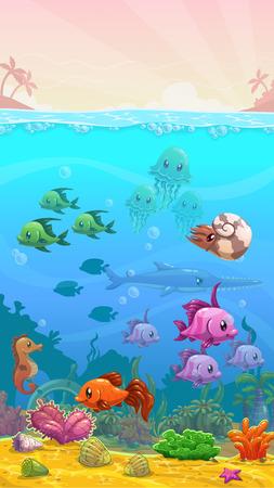 verticales: Vector de dibujos animados bajo el agua ilustración tropical, fondo de pantalla vertical, tamaño del teléfono móvil