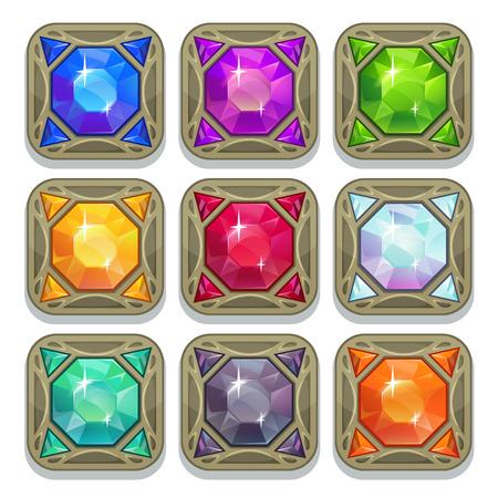 Set of colorful magic gemstones, square shape amulets, vector game elements