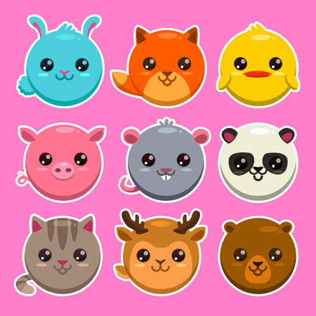 Set of cute cartoon round animals, vector zoo stickers Vettoriali