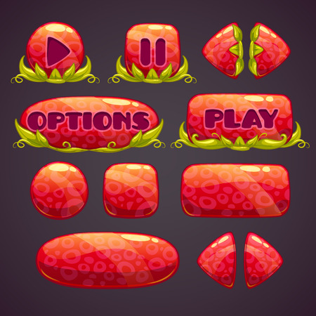 green button: Cartoon red buttons with nature elements, vector illustration Illustration